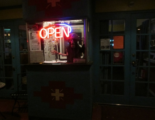 It was a long shift at the ticket window of the historic Ute Theater for this dedicated employee who worked well into the night . . and then some. Photo: Lynn Nowiskee/Saguache Today.