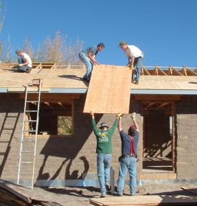 Local volunteers help construct a Habitat for Humanity house in the San Luis Valley. Photo: San Luis Valley Habitat for Humanity.