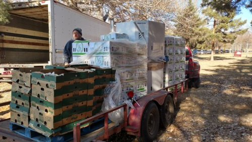 A Compassion Food Bank Truck arrives to distribute food. They will be in Monte Vista on Jan. 21. Photo:KOAA