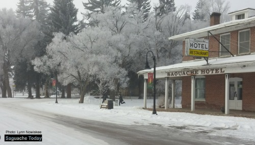 It's a cold and frosty morning in Saguache Today with temperatures well below zero. Forecaster say that things won't get above freezing today! Brrrr!  Photo: Lynn Nowiskee/Saguache Today.