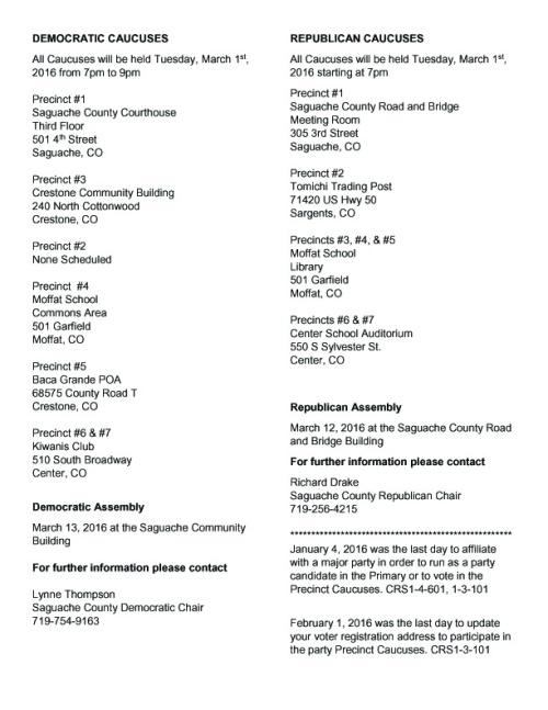 Saguache County 2016_Caucuses