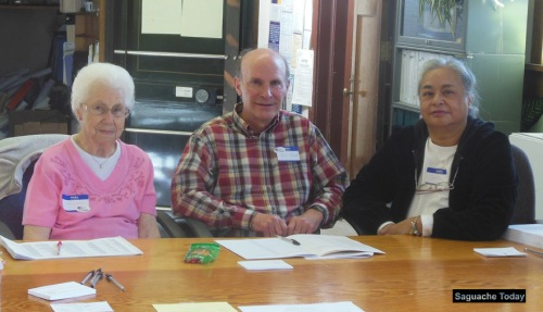 Saguache Town Election Judges (left to right) Alice Wardlow, Bill Hazard and Caroline Irwin helped residents cast their votes in the April 5 Election which appointed four Town Board Trustees and a Mayor for Saguache. Photo: Saguache Today.