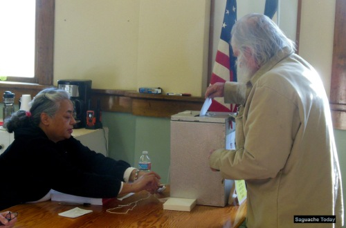 Resident Byron Smith casts his ballot in last April's Election in Saguache. Starting in 2017, ballots for Saguache County will be avaialble in Spanish, as well as English.