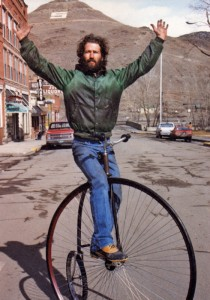 "Mike Rust on an ""ordinary,"" aka penny farthing in Salida CREDIT PHOTO BY JACK CHIVVIS, COURTESY OF GRIT AND THISTLE FILM COMPANY"