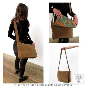 This Homegrown Tote is brown velour with a green paisley lining.