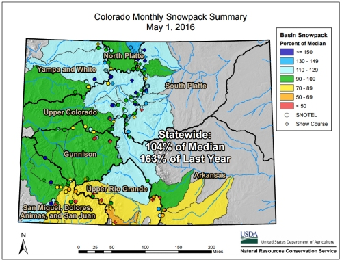 Colorado Monthly Snowpack Map for May 2016. Provided by the Natural Resources Conservation Service, these maps incorporate monthly SNOTEL and snow course data.