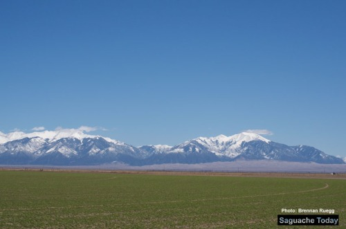 Snowpack across Colorado is lookign good as things head into the warmer month in the San Luis Valley. Photo: Brennan Ruegg/Saguache Today
