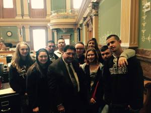 Students from Sierra Grande visit with State Rep Ed Vigil at the State Capitol
