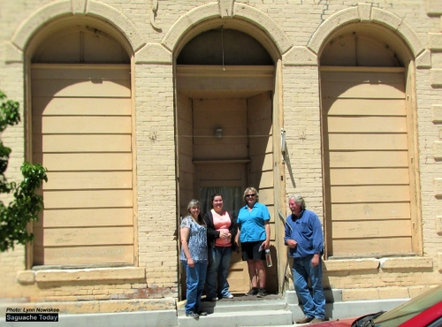 Saguache Town Trustees tour the Mason Building in downtown Saguache. The town is considering purchasing the historic building. Pictured left to right are Saguache Town Trustees: Susan Collins, Amber Wilson, Wyoma Hansen, and Saguache Mayor Greg Terrell. Photo: Saguache Today/Lynn Nowiskee