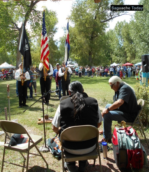 Honor, prayers and a drum circle were presented at the Annual Saguahce Pow Wow in support of the protest efforts in South Dakota Photo: Saguache Today.