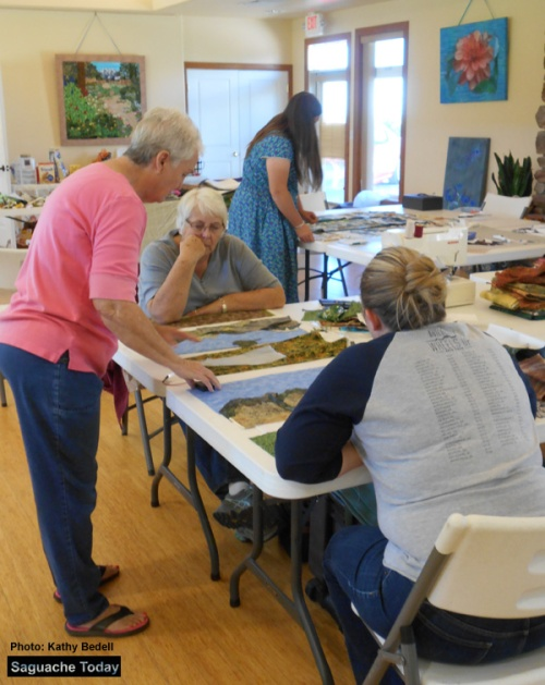 Seamstresses with the Sagebrush Quilting Group enjoy instruction from Pam Jernigan during during their October 1 Annual Quilting retreat at Joyful Journey Hot Springs. Photo: Saguache Today/Kathy Bedell