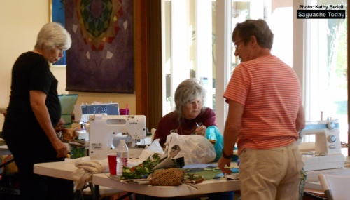 Seamstresses with the Sagebrush Quilting Group enjoy some dedicated sewing time during their October 1 Annual Quilting retreat at Joyful Journey Hots Springs. Photo: Saguache Today/Kathy Bedell