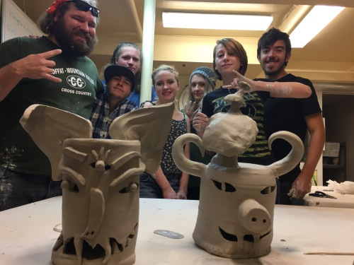 Teacher Students.jpg: from left to right—Andy McKim, clay instructor from Moffat Consolidated School District 2, Ryker  Poor, Taleb Nelson, Ida Green, Casey Groom, Alyssa Chavez, Jodeelee Rigdon
