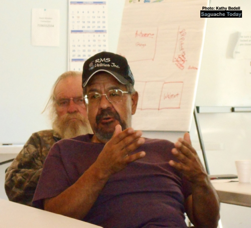 Town of Saguache Public Works Director Danny Pacheco explains some of the details of the upcoming water & sewer proejcts to attendees at the Saguache Annula Planning Meeting. Photo: Saguache Today/Kathy Bedell