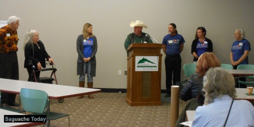 "SLV Toursim Associaiton President Lee Bates (center at podium) introduces the ""Keep It Cool"" Board at the annual SLVTA conference held at Adams State Unviersity. Photo: Saguache Today"