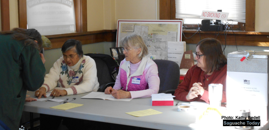 Pictured (left to right): Carla Quintana, Kathy Geddes and Kate Vasha do their part for democracy with their service as Election Judges in The Town of Saguache special election regarding the purchase of the historic Dunn Building. By a two vote difference, voters denied the purchase. Photo: Saguache Today/Kathy Bedell.