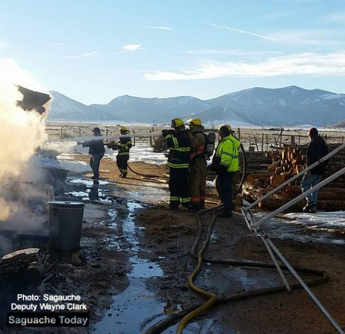 Multiple Fire Rescue teams were dispatched to a fire near Hwy 285 and CO Hwy 17 on February 1 in Saguache County. The structure fire was put out and no injuries were reported. Photo: Saguache Sheriff Deputy Wayne Clark,