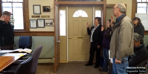 Swearing in Saguache Town Board April 2016