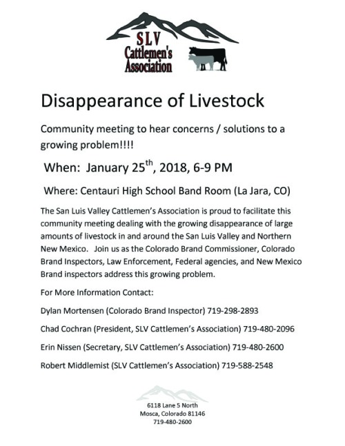 Missing Livestock Meeting SLV Cattlemen Assoc