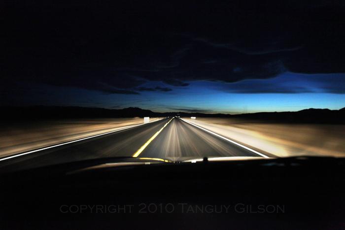 Desert road at night far west usa 2009